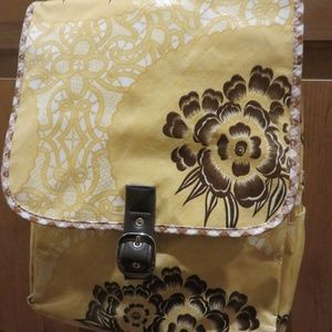 Yellow/brown oilcloth Flee backpack, nwot
